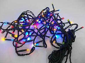 Электрическая елочная гирлянда на 100 LED-ламп разноцветная, подходит для улицы