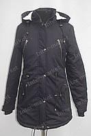 Женская зимняя куртка коттоновая с капюшоном черная