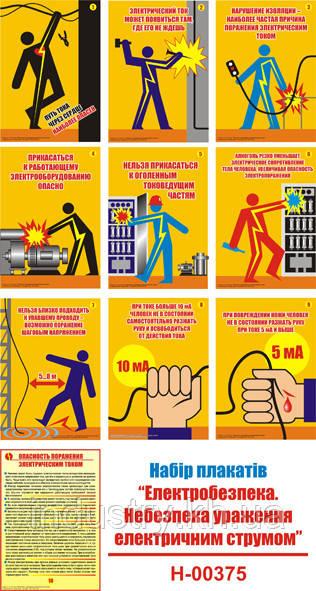 """""""Электробезопасность. Опасность поражения электрическим током"""" (10 плакатов, ф. А3)"""