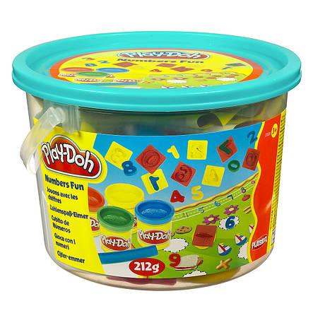 """Творчество и рукоделие «Hasbro» (23414) набор для лепки """"Считалочка (Numbers Fun)"""" с формочками и четырмя баночками с пластилином в ведёрке, фото 2"""