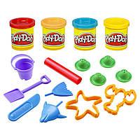 """Творчество и рукоделие «Hasbro» (23414) набор для лепки """"Морские обитатели (Beach Bucket)"""" с формочками и четырмя баночками с пластилином в"""