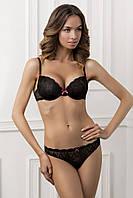 Комплект женского белья: бюстгальтер push-up Effy + cтринги Isabel, черный, Jasmine Lingerie