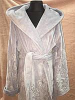 Теплый  Серо-голубой бамбуковый халат тм NUSA