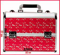 Красный кейс для косметики с узорами