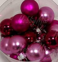 Шарики новогодние РОЗОВЫЙ_4 шт. Ø 2 см.(стекло) , фото 1