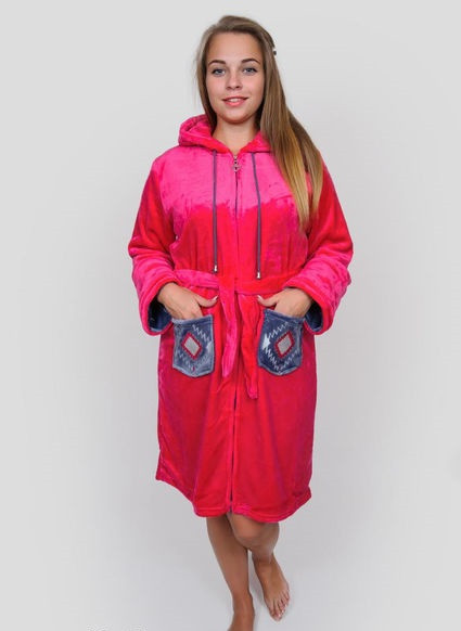 Махровий жіночий халат з ромбами на кишенях