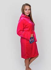 Махровий жіночий халат з ромбами на кишенях, фото 2