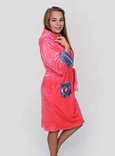 Махровый женский халат с ромбами на карманах , фото 3