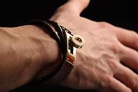Мужские браслеты золото, кожа. Ручная работа.
