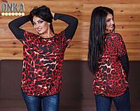 Леопардовая туника батал, цвет красный+серый. Турция. Арт-9102/35
