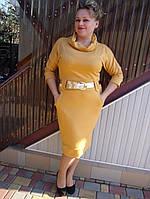 Женское трикотажное платье песочного цвета