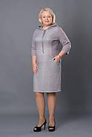 Повседневное платье с капюшоном р.52-58 серое V256-1