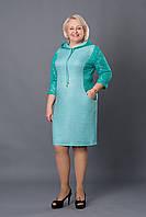 Повседневное платье с капюшоном р.52-58 бирюзовое V256-2