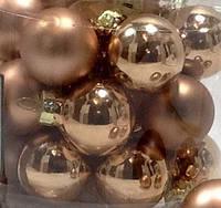 Шарики новогодние ЗОЛОТИСТО БЕЖЕВЫЙ_4 шт. Ø 2,5 см.(стекло)