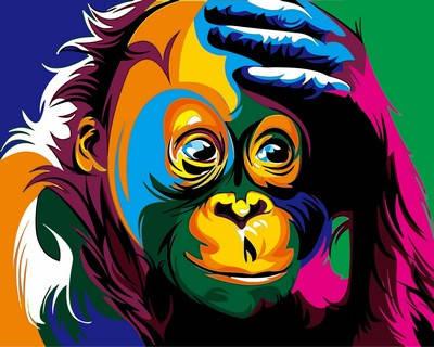 Набор-раскраска по номерам Радужная обезьяна худ Ваю Ромдони, фото 2