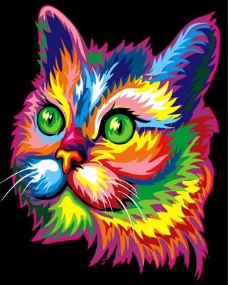 Набор-раскраска по номерам Радужный котик худ Ваю Ромдони