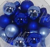 Шарики новогодние СИНИЙ_4 шт. Ø 1,5 см.(стекло) , фото 1
