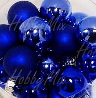 Шарики новогодние СИНИЙ_4 шт. Ø 2 см.(стекло) , фото 1