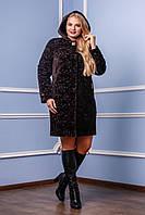 Демисезонное женское коричневое пальто  В-981 у Kelly-PL Тон 3  Favoritti  46-60 размеры