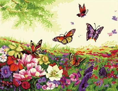 """Картина-раскраска по номерам Идейка """"Бабочки"""" (KHO250) 40 х 50 см (без коробки)"""