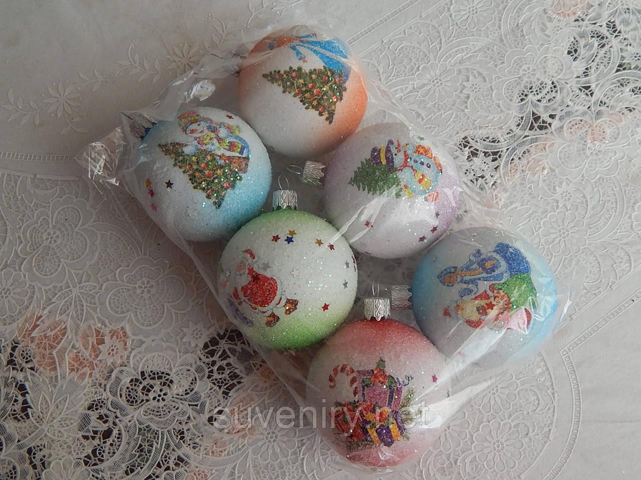 Красивые  новогодние шары на елку 6см
