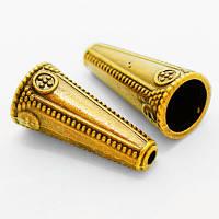 Конус Шапочки для Бусин, Металлические, Цвет: Античное Золото, Размер: 26х12х2мм, Отверстие 2~10мм, (УТ000005707)