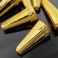 Конус Шапочки для Бусин, Металлические, Цвет: Золото, Размер: 26х12х2мм, Отверстие 2~10мм, (УТ000006370)