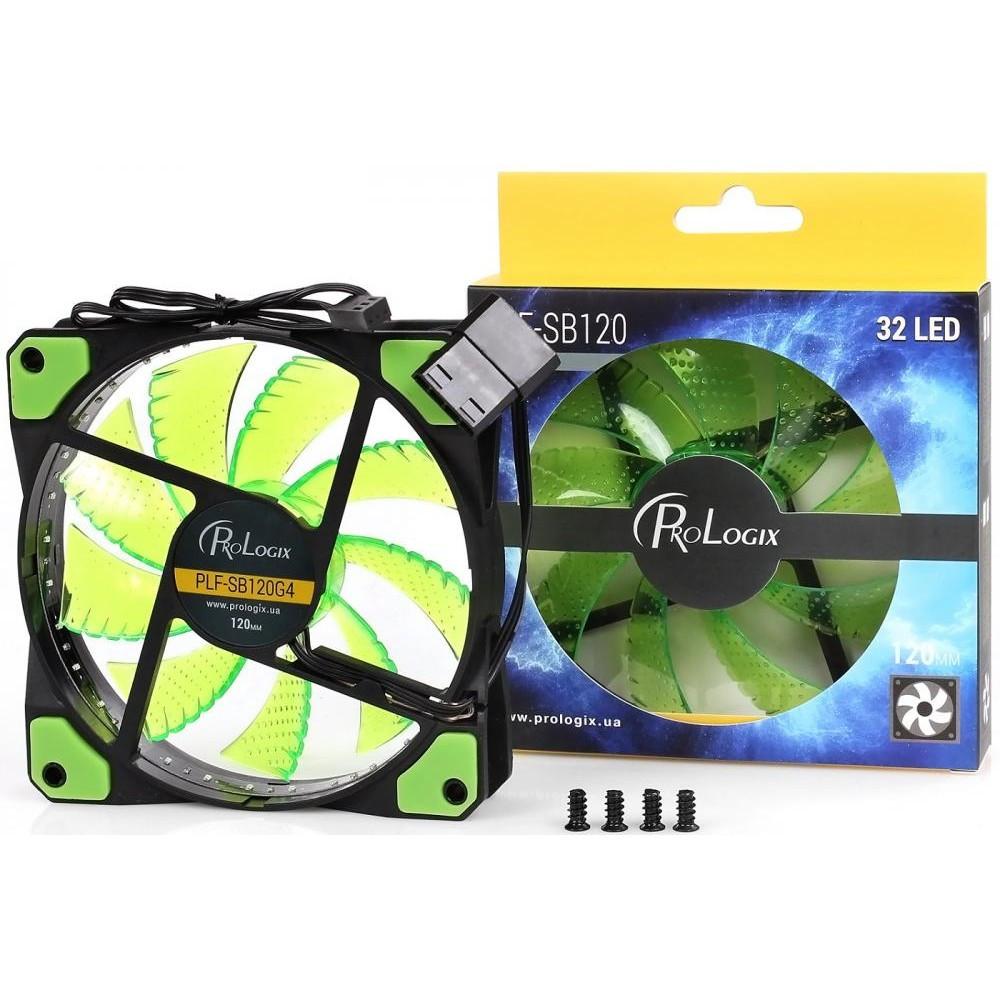 Вентилятор ProLogix PLF-SB120R4 120*120*25 32 Green LED, BOX