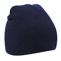 Детская вязанная демисезонная шапка темно-синяя