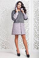 Демисезонное  женское серое пальто  В-972 Dracena/50+Лаке Тон 13  44,54-58 размеры