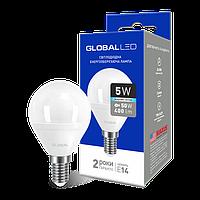 LED лампа GLOBAL G45 F 5W 4100K (яркий свет) 220V E14 AP (1-GBL-144)