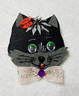Брошка Черный котик, фетр