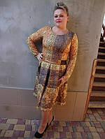 Стильное женское трикотажное платье большие размеры