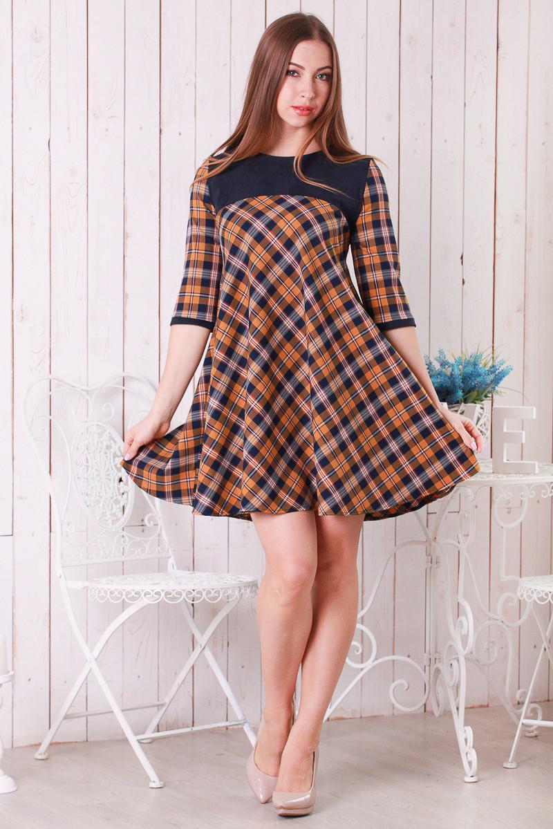 d3a84d0f8cb Трикотажное женское платье Клетка шерстяное трапеция клеш р.46-48 Y257-2 -