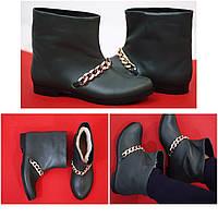 Стильные зимние женские ботинки на цигейке от TroisRois из натуральной турецкой кожи и прочной подошвы Зеленый2