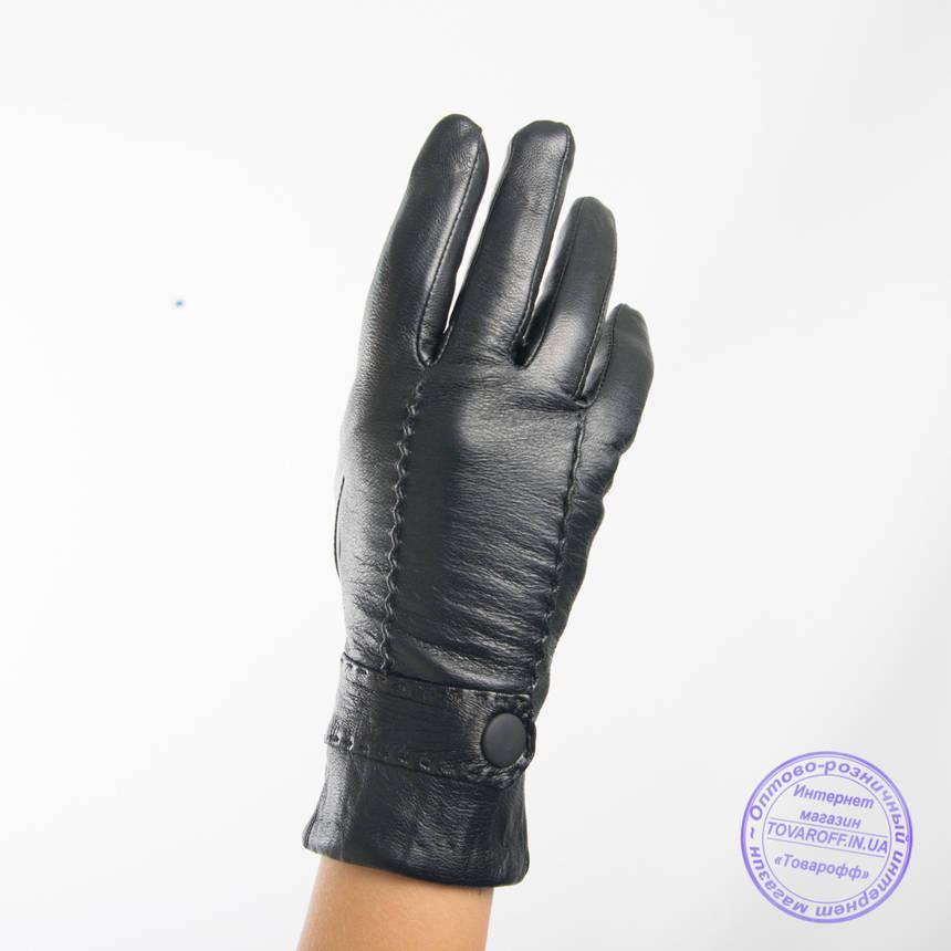 Оптом женские кожаные перчатки с вязаной шерстяной подкладкой - F31-1, фото 2