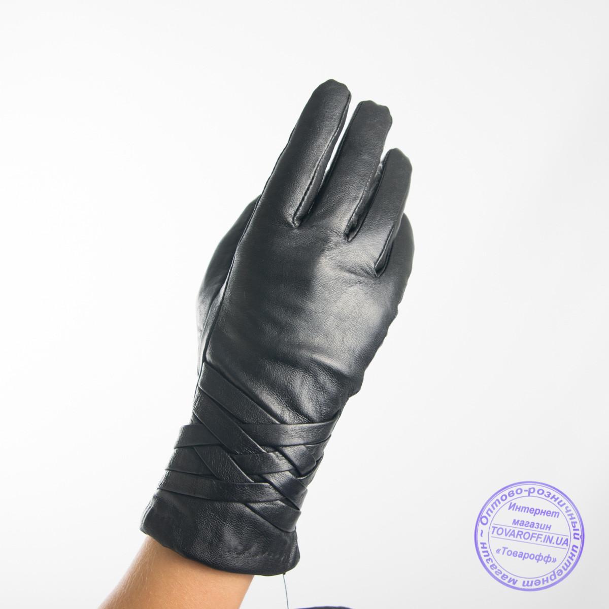 Женские кожаные перчатки с вязаной шерстяной подкладкой - F31-3