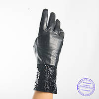 Женские кожаные перчатки с вязаной шерстяной подкладкой - F31-4, фото 1