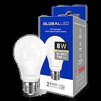 LED лампа GLOBAL A60 8W 3000K (мягкий свет) 220V E27 AL (1-GBL-161)