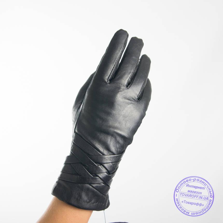 Оптом женские кожаные перчатки с вязаной шерстяной подкладкой - F31-3, фото 2