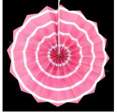 Бумажный веер с рисунком 20 см.  нежно-розовый