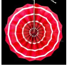 Бумажный веер с рисунком 30 см.  красный