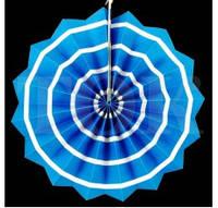 Бумажный веер с рисунком 30 см.  синий