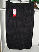 Женская теплая юбка ниже колен черного цвета большой размер