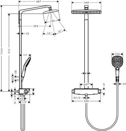 Душевая система с термостатом Ecostat HANSGROHE Raindance Select E 360 Showerpipe 27112400, фото 2