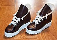 Ботинки-чуни кожанные IK-1714 (бордовый)