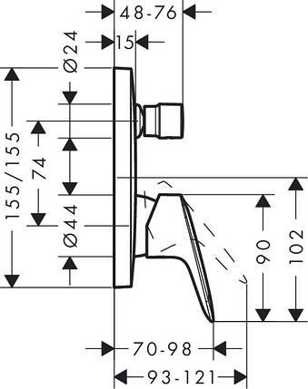 Смеситель для ванны, однорычажный HANSGROHE Logis 71405000, фото 2