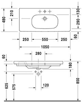 Умывальник мебельний DURAVIT DCODE 105*48см, фото 2