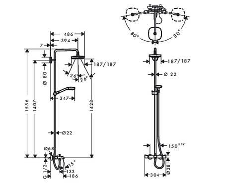 Душевая система HANSGROHE Croma Select E 27352400, фото 2