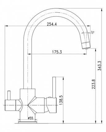 Смеситель для кухни IMPRESE DAICY-U с подключением питьевой воды, (черный), фото 2